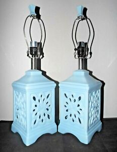 """LAMPS A PAIR OF 23""""H HIGH-END FANCY BLUE CERAMIC ART DECO THEMED TABLE LAMPS"""
