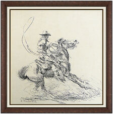 Olaf Wieghorst Original Ink Drawing Signed Western Horse Cowboy Illustration Art