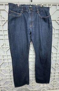 Lacoste Men's Size 34x32 Straight Fit Denim Cotton Dark Wash Blue Jeans