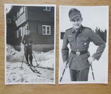 2 alte Portrait Fotos Gebigsjäger mit Edelweiss - Abzeichen / Orden 2. WK (2)
