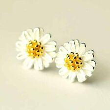 Silver Daisy Flower Stud Earrings For Womens Centre Gold Plated Small Little