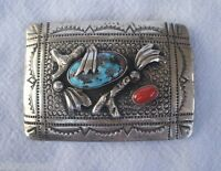 Signed TSO Vintage NAVAJO Stamped Sterling Silver Turquoise & Coral BELT BUCKLE