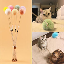 Colorful Rabbit Fur Rattle Ball Cat Toy Cat Teaser Wand w/ Bell Interactive Toy