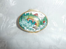 HALCYON DAYS TIFFANY & CO RAINBOW TROUT FISHING ENAMEL OVAL TRINKET PILL BOX