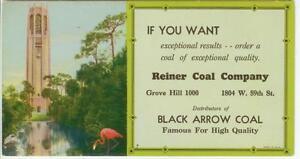 c1930s Chicago Illinois Reiner Coal Co ad blotter - Black Arrow Coal