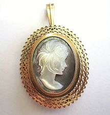 Antique 14K Victorian Abalone Shell Cameo Gold Pendant/Brooch