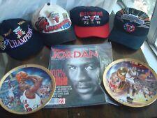 LOT  NBA CHICAGO BULLS MICHAEL JORDAN MEMORABILIA COLLECTION CAPS MAGAZINE PLATE