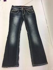 Women's Dark Wash Juniors Bongo Bootcut Jeans Size 11 Thick Stitch