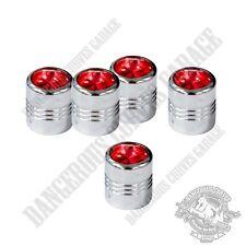 5 Chrome Billet Aluminum Swarovski® Red Diamond Wheel Valve Stem Dust Caps