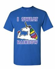 I Sweat Rainbows T-Shirt Fabulous Unicorn Gym Workout Fitness Mens Tee Shirt