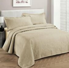 Beige Brown Tan 3pc Quilt Set Twin Xl Full Queen Cal King Bed Coverlet Bedspread