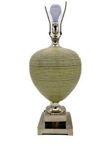 LUXURY UTTERMOST GLAZED CERAMIC POTTERY LAMP NICKEL PEDESTAL BASE