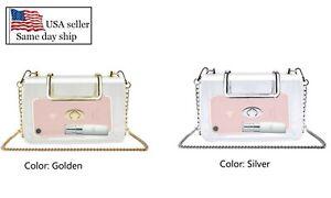 Women  Beautiful Transparent PVC Clear Shoulder bag Clutch Purse with  Chain