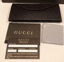 Authentic New GUCCI Brown Leather Folding Sunglass Case/ Cards/ Cloth