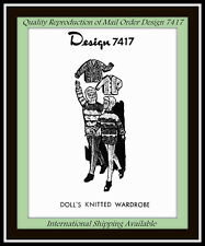 Craft 11½ DOLL KNITTED Pattern VTG Design 7417 JACKET SWEATER, and More WARDROBE