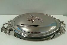 GODINGER COVERED CASSEROLE DISH & UNDER TRAY  3PC.SILVER PLATED 3 QT.GRAPE OVAL