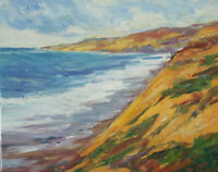 Art Original Oil Painting by RM Mortensen Seascape Coast Sky Impressionism