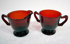 Royal Ruby Footed Creamer and Sugar with Fancy Handles by Anchor-Hocking