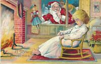 Santa Claus Brings Doll to Sleeping Girl~~Antique Christmas Postcard--a518