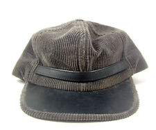 58518449d4d Brown Corduroy Trapper Hat Leather Brim Cap Foam Insulated Sz M Made in USA  Vtg