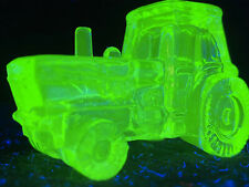 Green Vaseline glass John Deere Farm Tractor uranium Ford New Holland glows neon