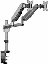 AVLT-Power Aluminum Dual Monitor Gas Spring Desk Mount Full Motion Two Arm Stand