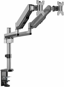 AVLT Aluminum Dual Monitor Gas Spring Desk Mount Full Motion Two Arm Stand