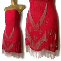 TOPSHOP KATE MOSS Beaded Dress 14 Sz M Red Flapper Mini 12 Art Deco Pinup M 💖