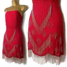 TOPSHOP KATE MOSS Beaded Dress 14 Size M Red Flapper Mini 12 Art Deco Gatsby vtg