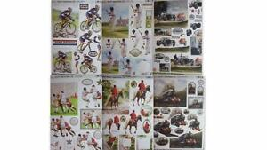 3D A4 Die Cut Paper Tole Decoupage Mens Themes Bike Cricket Football Horse Train