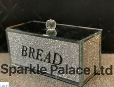 Latest Sparkle Palace XXL Silver Crushed Diamond Crystal Mirrored Bread Bin UK