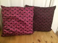 """Pair Of Unique Handmade 18"""" Black Lace Over Pink / Mauve Accent Cushion Covers."""