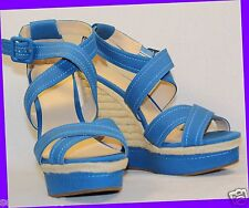 NEW! ELLE Women's Platform BLUE Wedge Sandal High Heels Shoes SIZE 10 Girl Teen