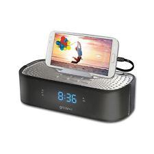 Groov-e Black TimeCurve Digital Alarm Clock Radio with USB Charging Station New