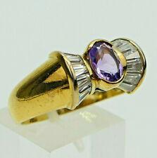 Schöner Ring mit violettem Stein, Größe 25 (groß), Silber 925 vergoldet