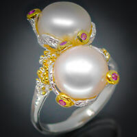 Vintage style Natural Pearl 14mm.925 Sterling Silver Handmade  Ring / RVS145