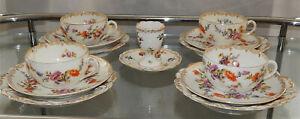 antikes Porzellanset 4 Sets 13 Teile DRESDEN - Kaffeservice Handmalerei