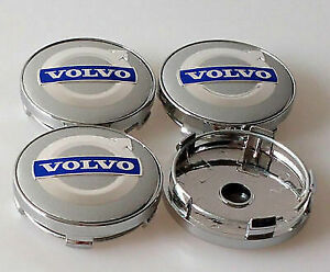 4pcs 60mm VOLVO Silver Blue Alloy Wheel Center Caps Logo Emblem Badge Hub Caps