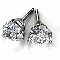 4.00 Ct Round Cut Solitaire Diamond 3 Prong Earrings 14K White Gold VVS1 Studs