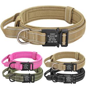 Military Tactical Dog Collar Reflective K9 Training Collar Custom Personalized