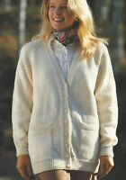 "Ladies Classic Cardigan Knitting Pattern 4ply, DK, Chunky and Aran 32-42"" 715"