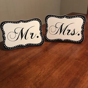 Mr And Mrs Wedding Signs Black And White