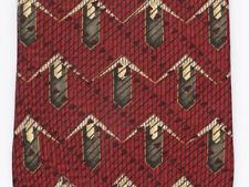 Nautica Men's Neck Tie Red Tan Gray Maroon Suit 100% Silk Made in U.S.A. RN19388