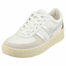 Gola Grandslam Metallic Womens White Silver Leather & Synthetic Casual Trainers