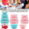 Silicone Microwave Food Portable Lunch Box Bowl Bento Boxes Folding Collapsible