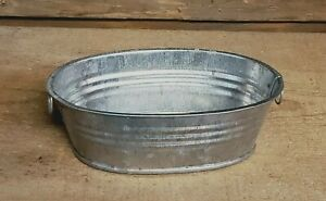 "3 Oval Galvanized Metal Containers, Tub, Organizer ....5-5/8"" long"