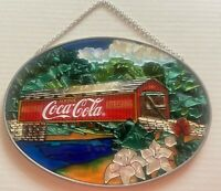 Coca-Cola OvalSun Catcher-Covered Bridge-Hand Painted Glass-1997-New Old Stock