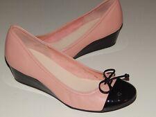 COLE HAAN tali metallic pink black leather wedge pumps shoes women 10 b