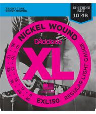 D'Addario Jeu de Cordes électrique EXL150 12 cordes Regular-light 10-46 filé ron