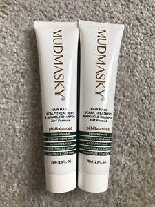 Mudmasky Hair Mask Scalp Treatment & Miracle Shampoo 3In1 Formula 75ml x2 Sealed